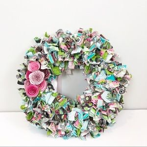 Handmade Fabric Wreath with Flower Detail